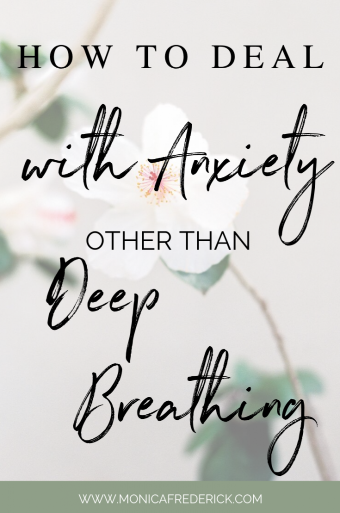 "How many times have you been in the middle of a panic attack or anxiety and you hear ""just breathe"". While breathing is great (and totally recommended!) sometimes you need a little more. Click through to read my tips to get over anxiety other than just deep breathing. There're tips you can implement right away. #mentalhealth #anxietyattack #Anxietytips #deepbreathing #mentalhealthtips"